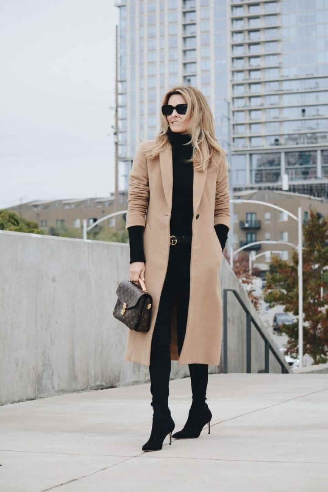 Rag & Bone Camel Coat styled with Black Sweater, Denim, Louis Vuitton Bag & Sock Booties - Her Fashioned Life