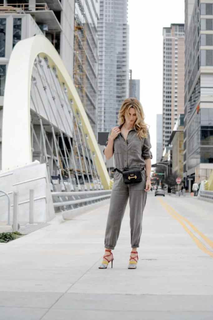 Utility Suit Style with Fashion Belt Bag and Rainbow Heels