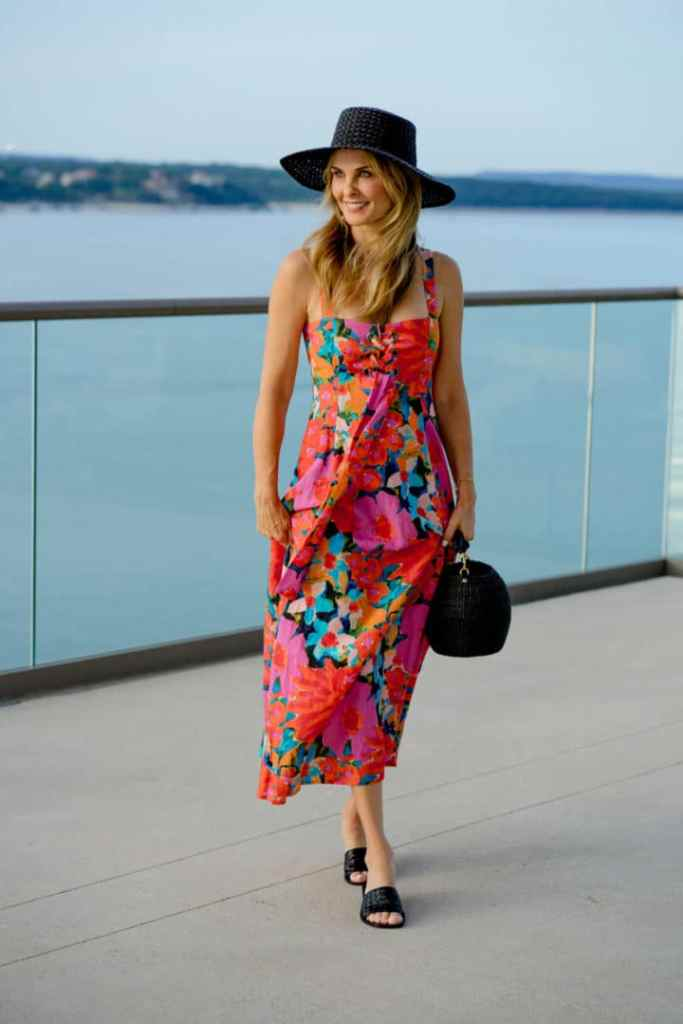 Floral Dress Styled With Black Accessories