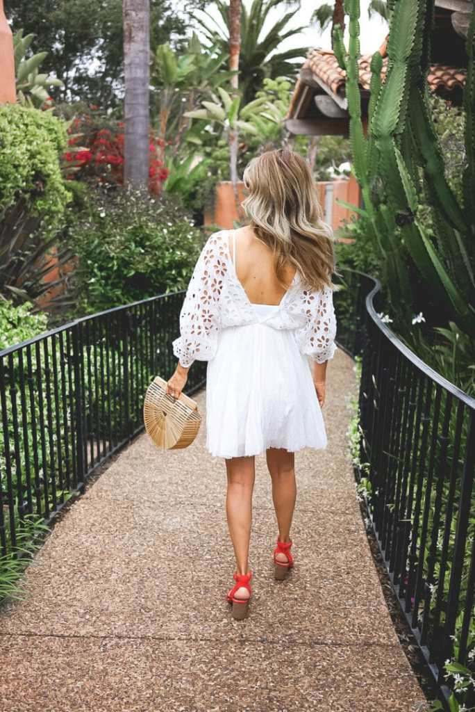 Cult Gaia Bag with White Dress Outfit