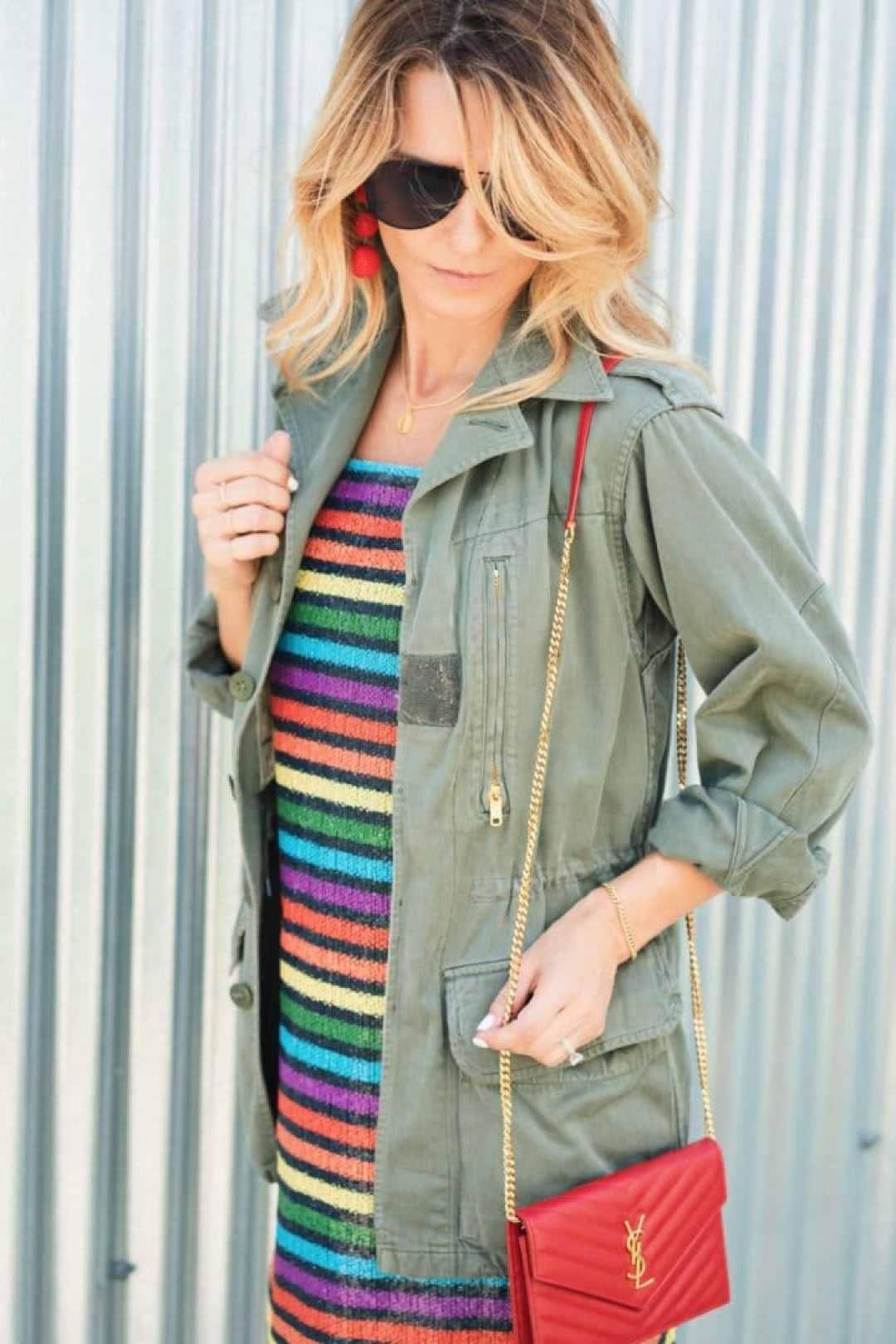 Rainbow Print Dress with Green Army Jacket
