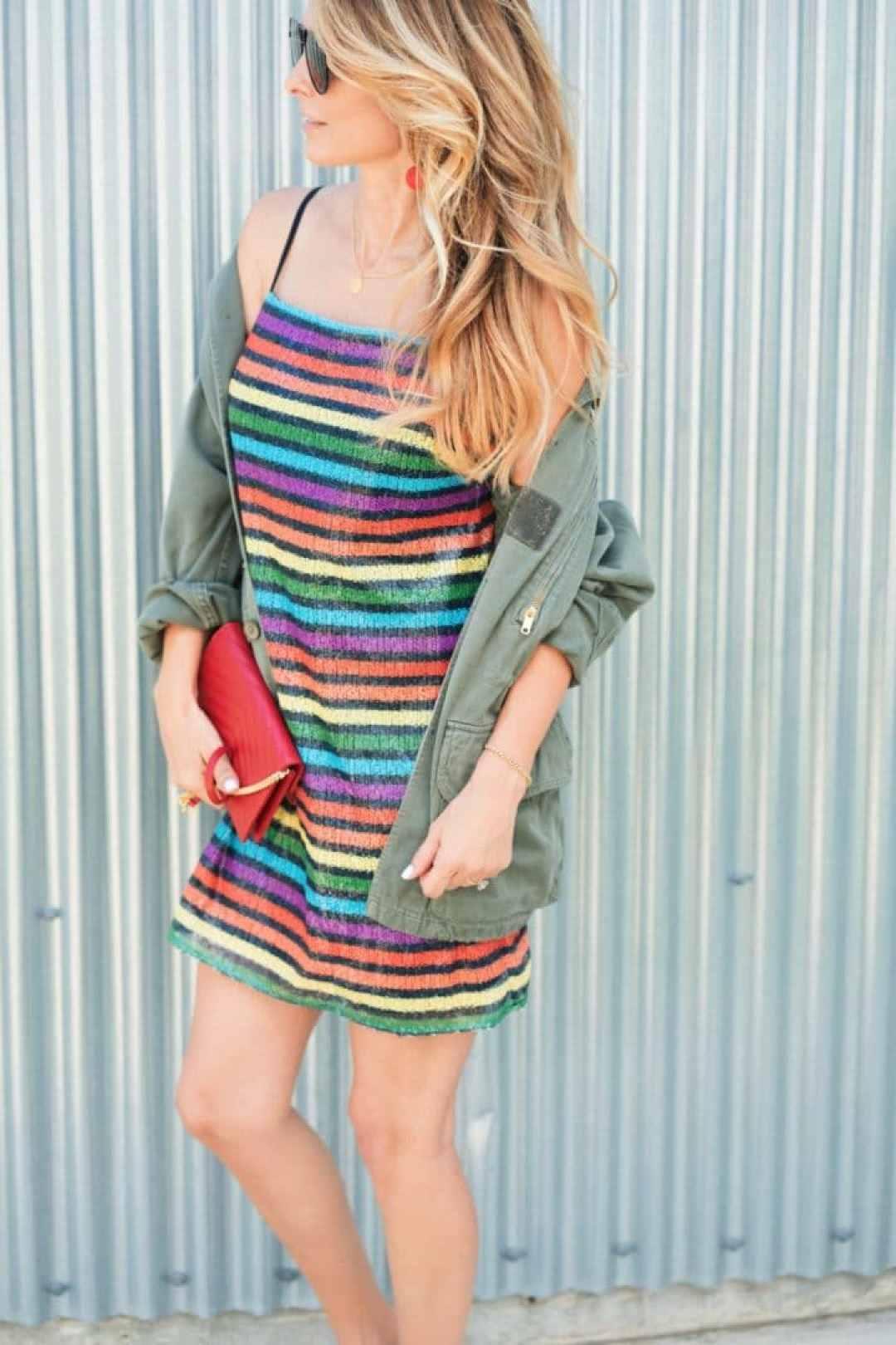 Rainbow Print Sequin Slip Dress Style
