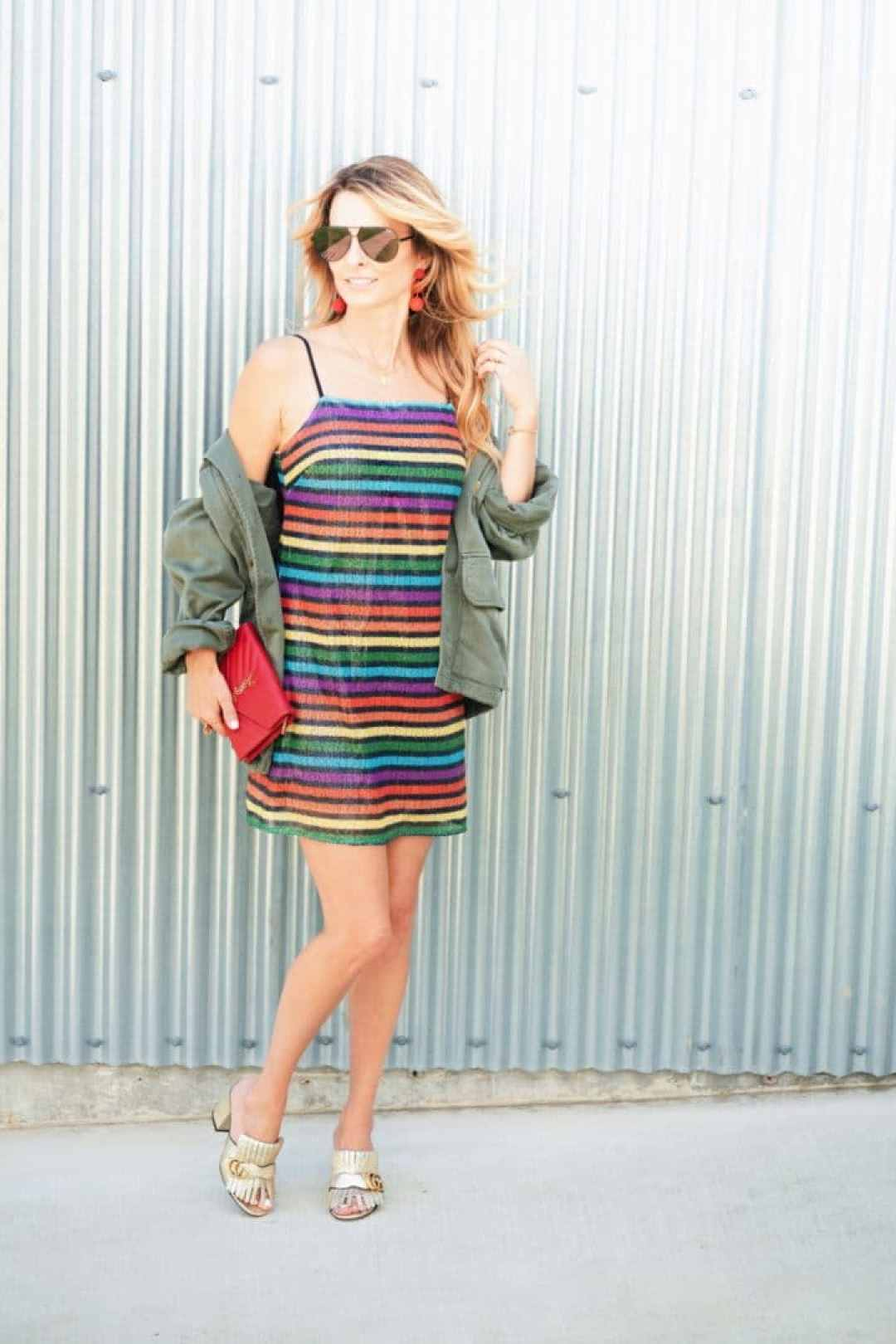 How To Style Rainbow Print Dress