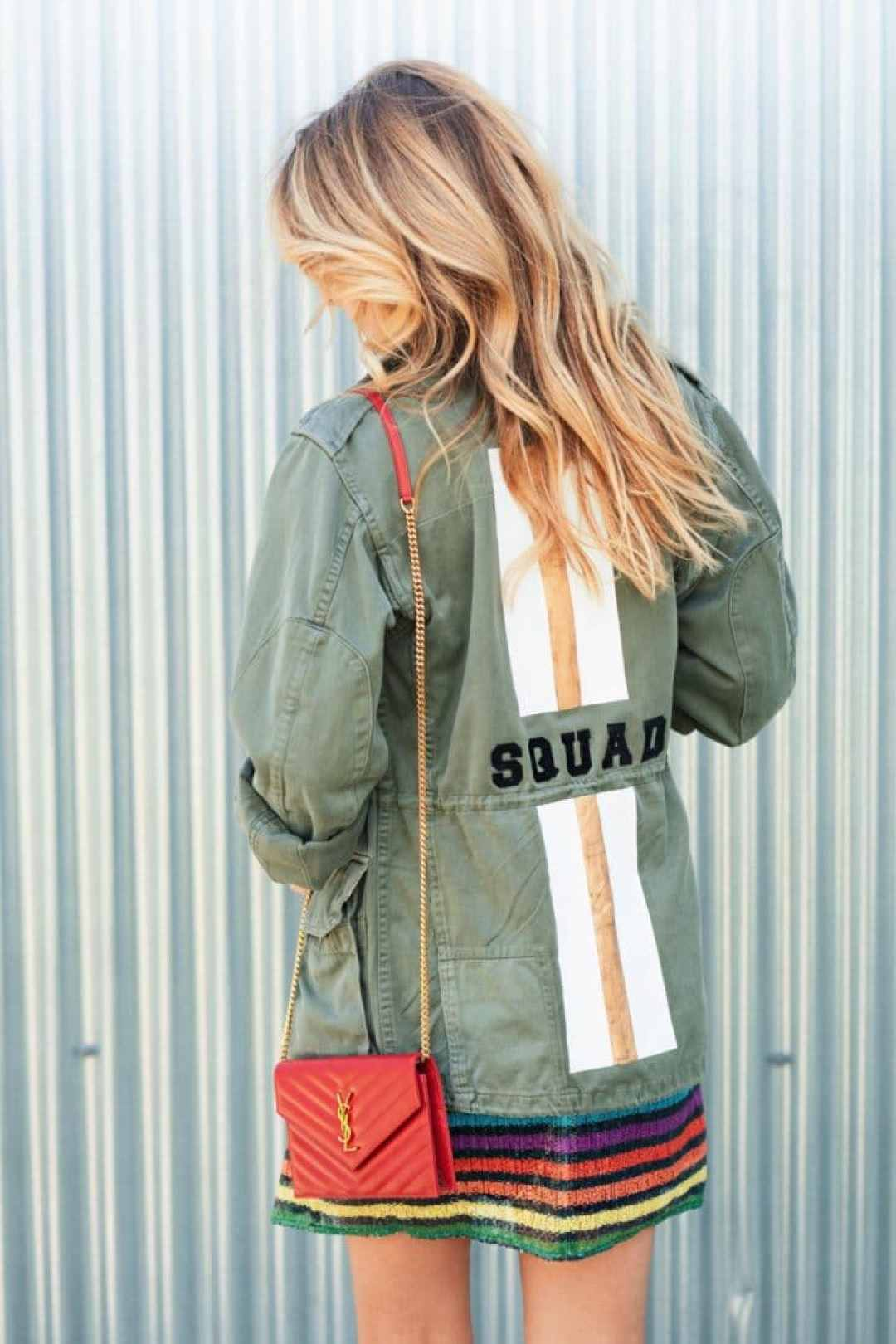 Squad Army Jacket and YSL Red Leather Bag