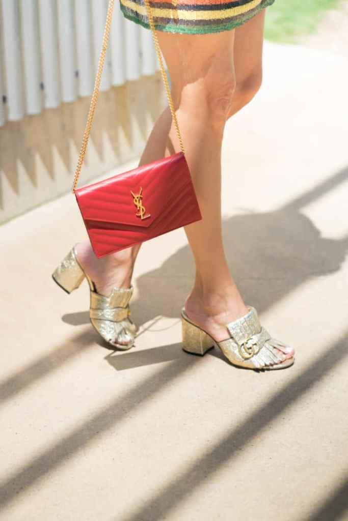 YSL Designer Bag and Metallic Gucci Designer Heels