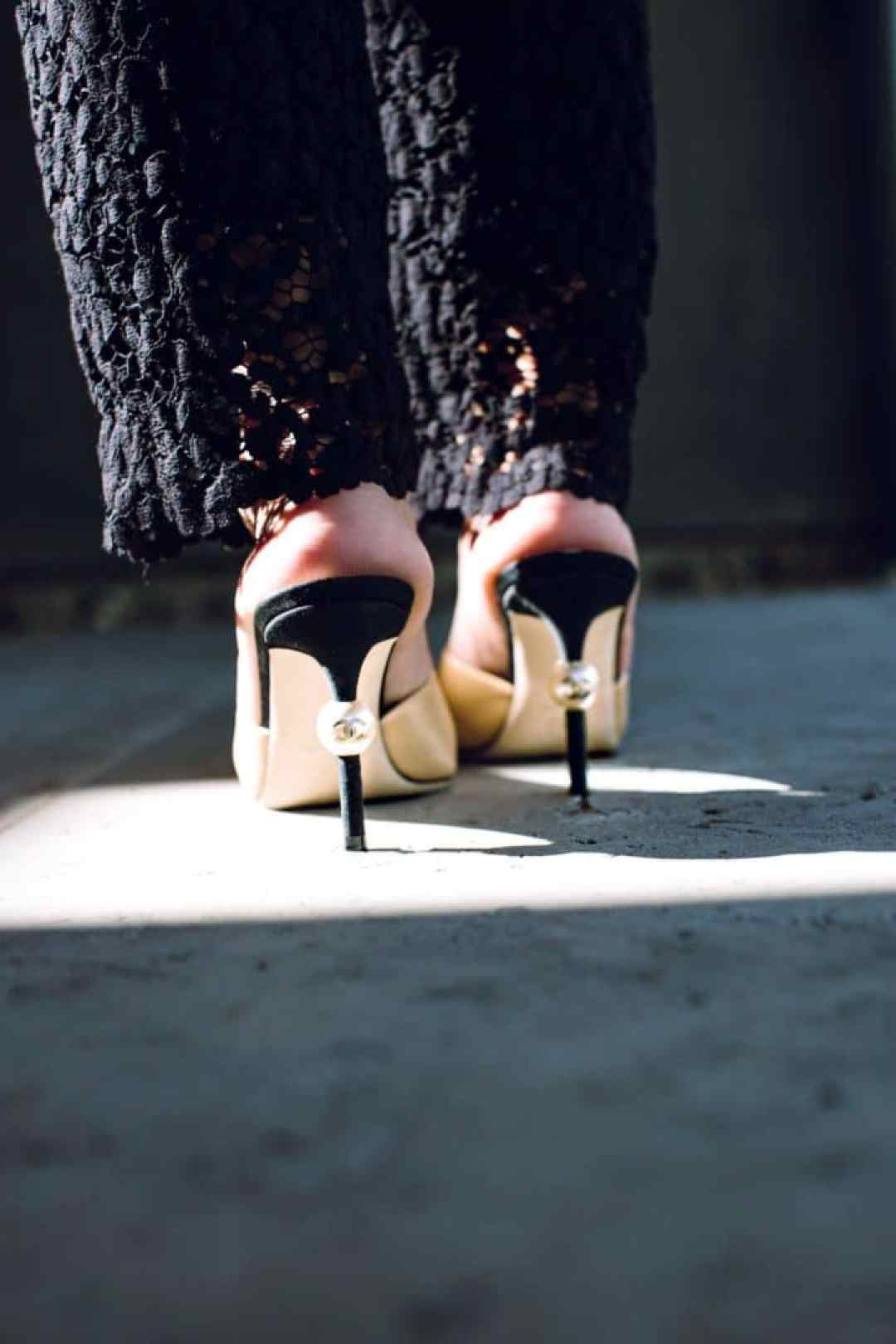 Chanel mules with Pear www.herfashionedlife.com