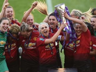 Manchester United Women celebrate winning the FA Women's Championship