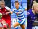 Leah Williamson of Arsenal, Fara Williams of Reading, and Beth England of Chelsea.
