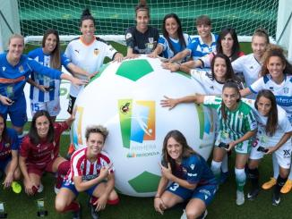 Liga Iberdrola presentation featuring players from different clubs.