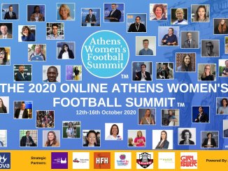 A collage of pictures featuring every speaker from the 2020 online Athens Women's Football Summit.
