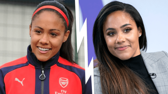 From left to right: Alex Scott training with Arsenal and Alex Scott working as a sports pundit.