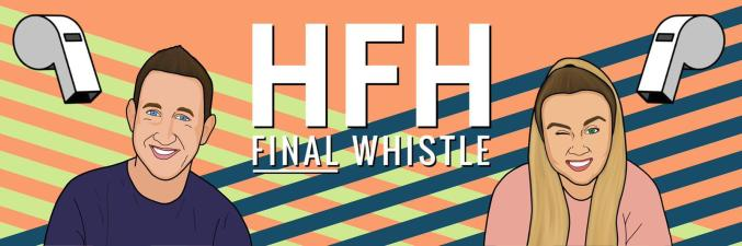 Cartoon versions of Drew and Georgia smile onward for the Her Football Hub Final Whistle header image.
