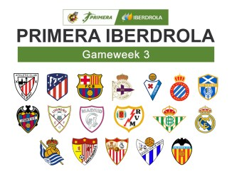Primera Iberdrola Gameweek 3 graphic featuring all 18 club crests.