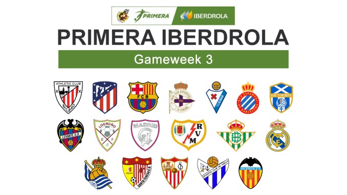 Primera Iberdrola Gameweek 3 graphic featuring all 18 club crests.