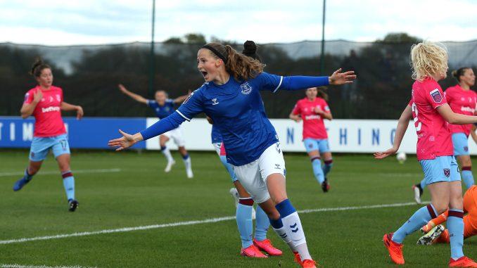 Nicoline Sørensen celebrates her first WSL goal.
