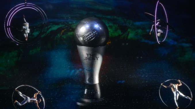 The Best FIFA Football Awards trophy.