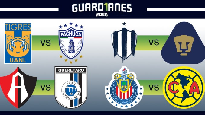 Club crests of the eight playoff teams in the Guardianes 2020.