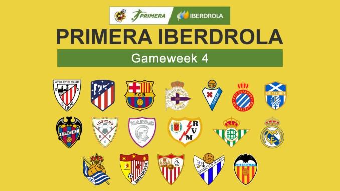 Primera Iberdrola Gameweek 4 graphic featuring all 18 club crests.