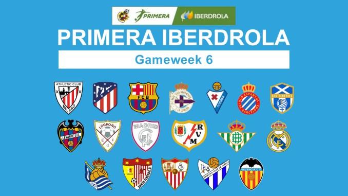 Primera Iberdrola Gameweek 6 graphic featuring all 18 club crests.