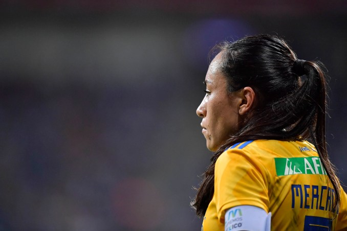 Tigres UANL's Liliana Mercado looks on during a 2019 match against Monterrey.