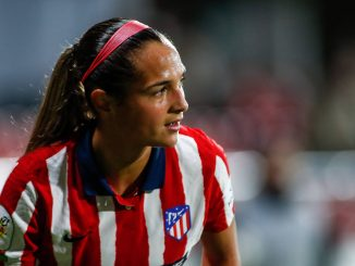 Atlético Madrid's Deyna Castellanos looks on during a Primera Iberdrola match against Real Betis Balompie Femenino at Ciudad Deportiva Wanda on November 15, 2020, in Alcala de Henares, Madrid, Spain.