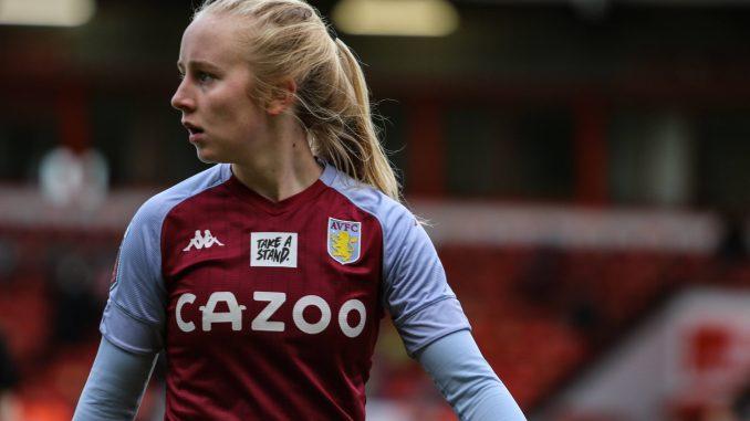 Aston Villa's Caroline Siems looks over her shoulder.