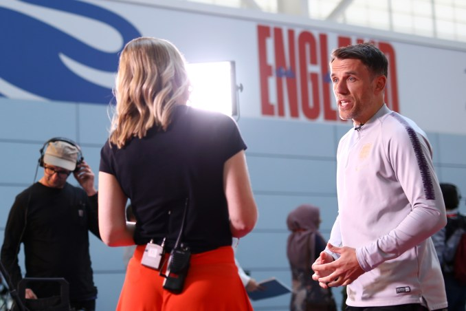 Phil Neville speaks to media ahead of a 2019 training session at St Georges Park in Burton-upon-Trent, England.