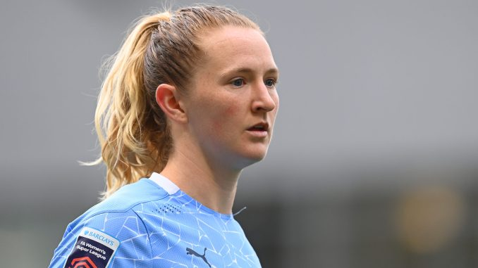 Sam Mewis of Manchester City looks onward.