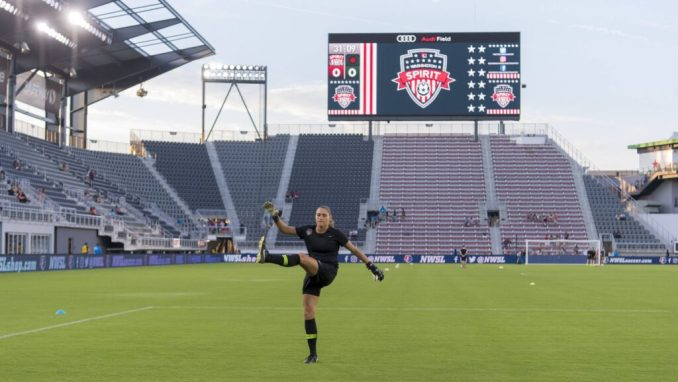 Aubrey Bledsoe warms up before a game at Audi Field.