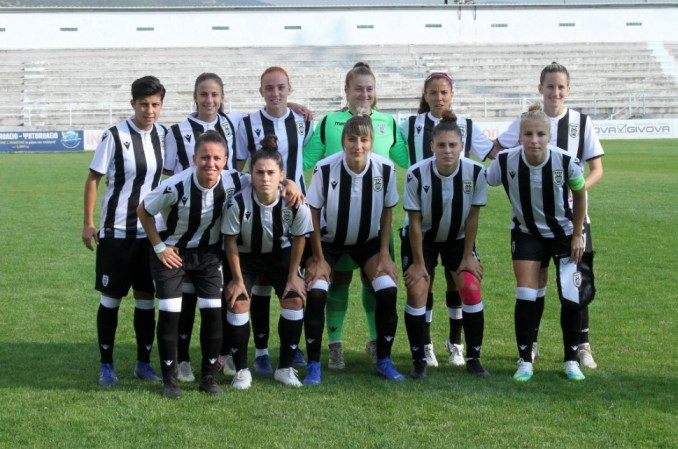 Players of PAOK FC pose before their match.