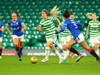 Sarah Teegarden of Celtic breaks through the Rangers defense on the ball.