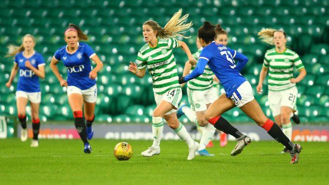 Sarah Teegarden of Celtic breaks through the Rangers defense on the ball.