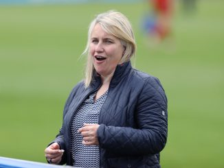 Emma Hayes celebrates Chelsea's UWCL win.