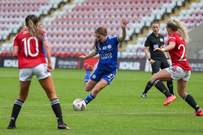 Shannon O'Brien of Leicester City shoots and scores.