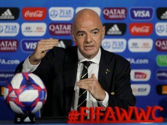 FIFA president Gianni Infantino speaks.