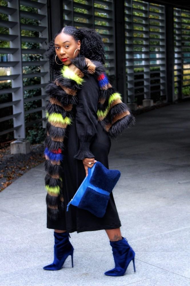 Colorful fur scarf
