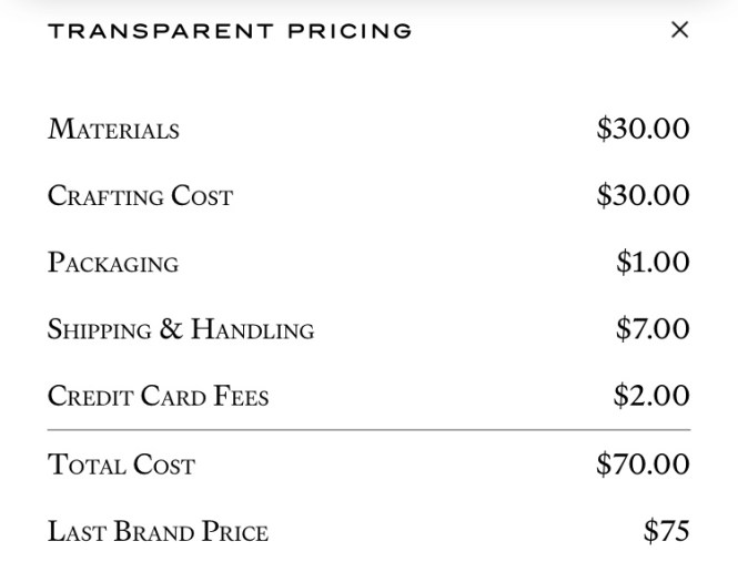 Last Brand Transparent Pricing