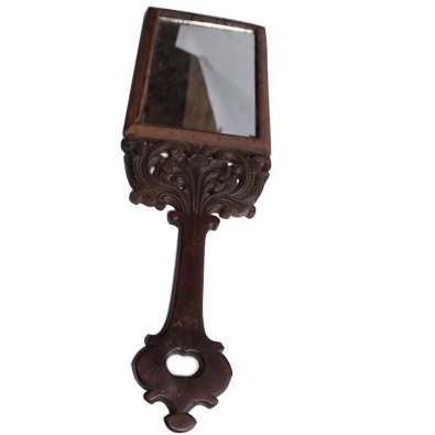 Wooden Curved Handle Vintage Mirror