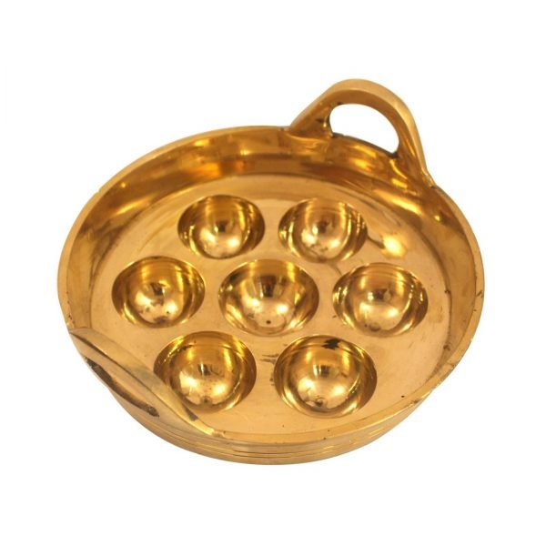 Unniyappam Making Pan Polished Brass Paniyaram Non Stick Patra (7 Cavity) Golden Color