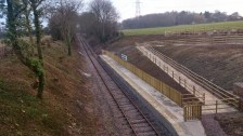 The completed Mountsorrel station platform from Bond Lane bridge
