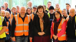Nicky Morgan with volunteers