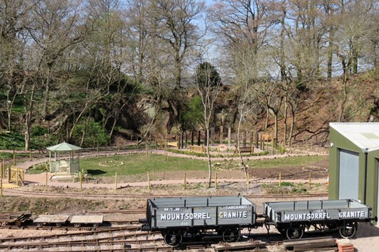 Garden in background and Granite wagons