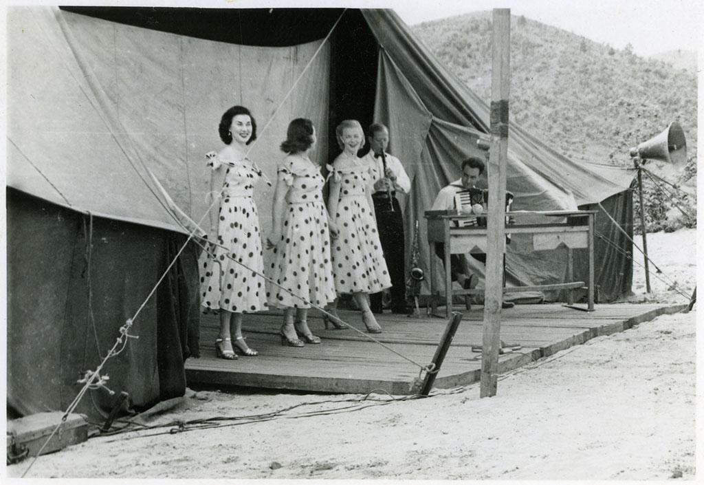 Three sisters, Korea concert. Norman Oswald Pierson. 1951-1952. CCL-Pierson-CCL-PH-0004