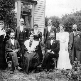 Family of William Read Welch at Laurel Hall, about 1900. Rear from L: Ada, George, Laura, Maurice (Mot), Arabella (Doll), and Ernest. Front from L: Frederick, Sarah (widow of Wm Read Welch), William Jnr. Wairarapa Archive collection.