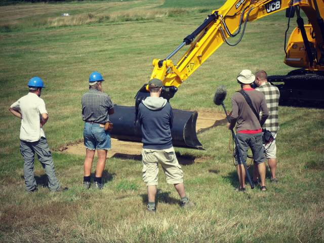 Time Team on site at Battle Abbey in August 2013