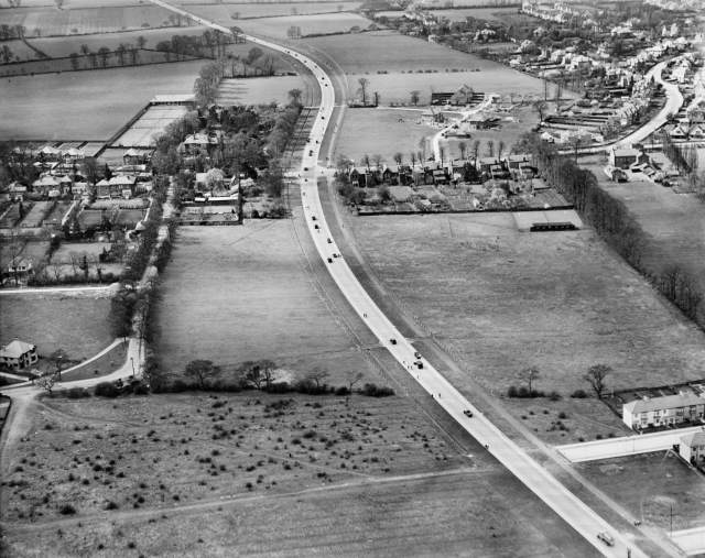By the 1920s, in a few parts of England, arterial roads such as the Kingston bypass, seen just after opening in 1928, were starting to change the landscape. Within ten years, all this land had been built on and the road had been turned into a dual-carriageway.