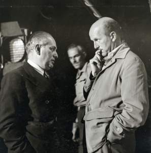 Emeric Pressburger (left) and Michael Powell on the set of Gone to Earth (1950)
