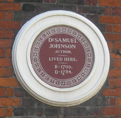 Brown Plaque to Dr Samuel Johnson in the City of London © English Heritage