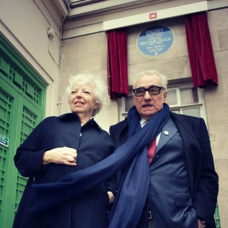 Thelma Schoonmaker and Martin Scorsese unveil blue plaque to film-makers Michael Powell & Emeric Pressburger