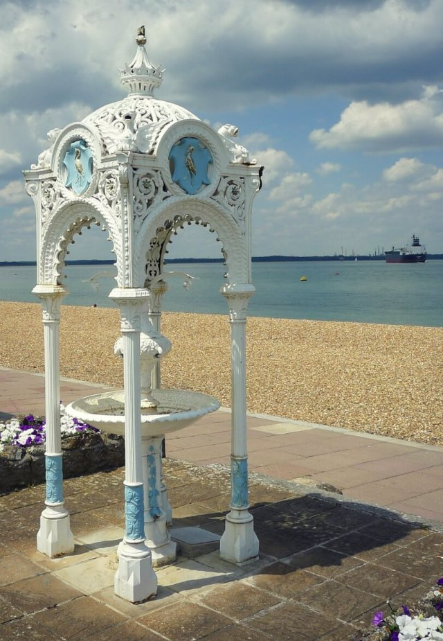 An elaborate drinking fountain of 1867 on the front at Prince's Green, West Cowes